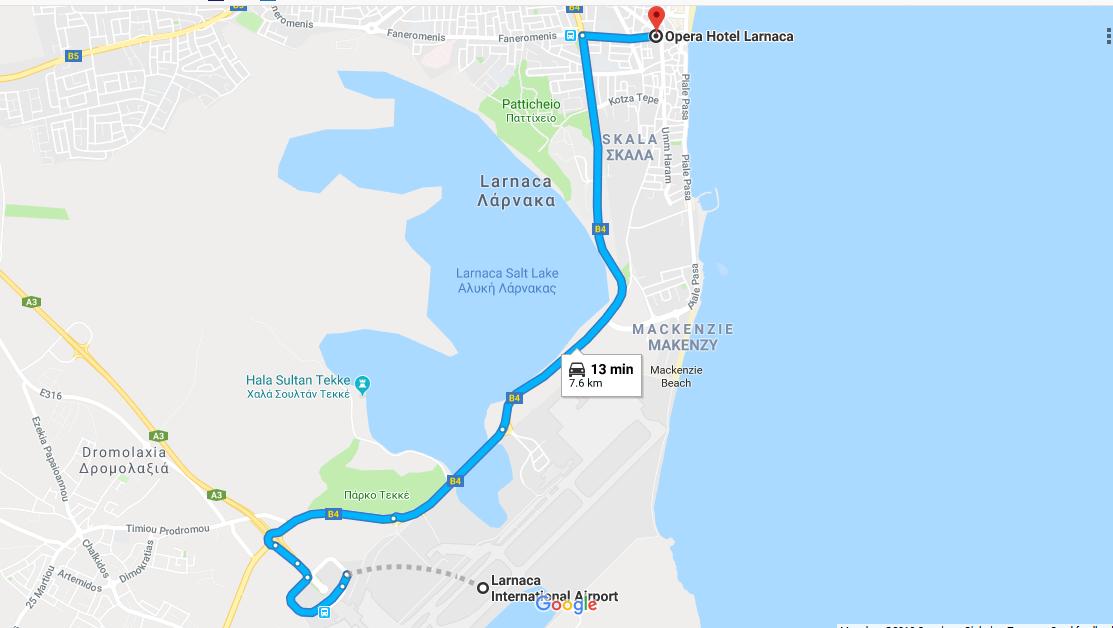 Aερολιμένας Λάρνακας to Hotel Opera, Λάρνακα