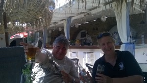 Mum and Dad enjoy their drinks at Anemos Beach Bar.