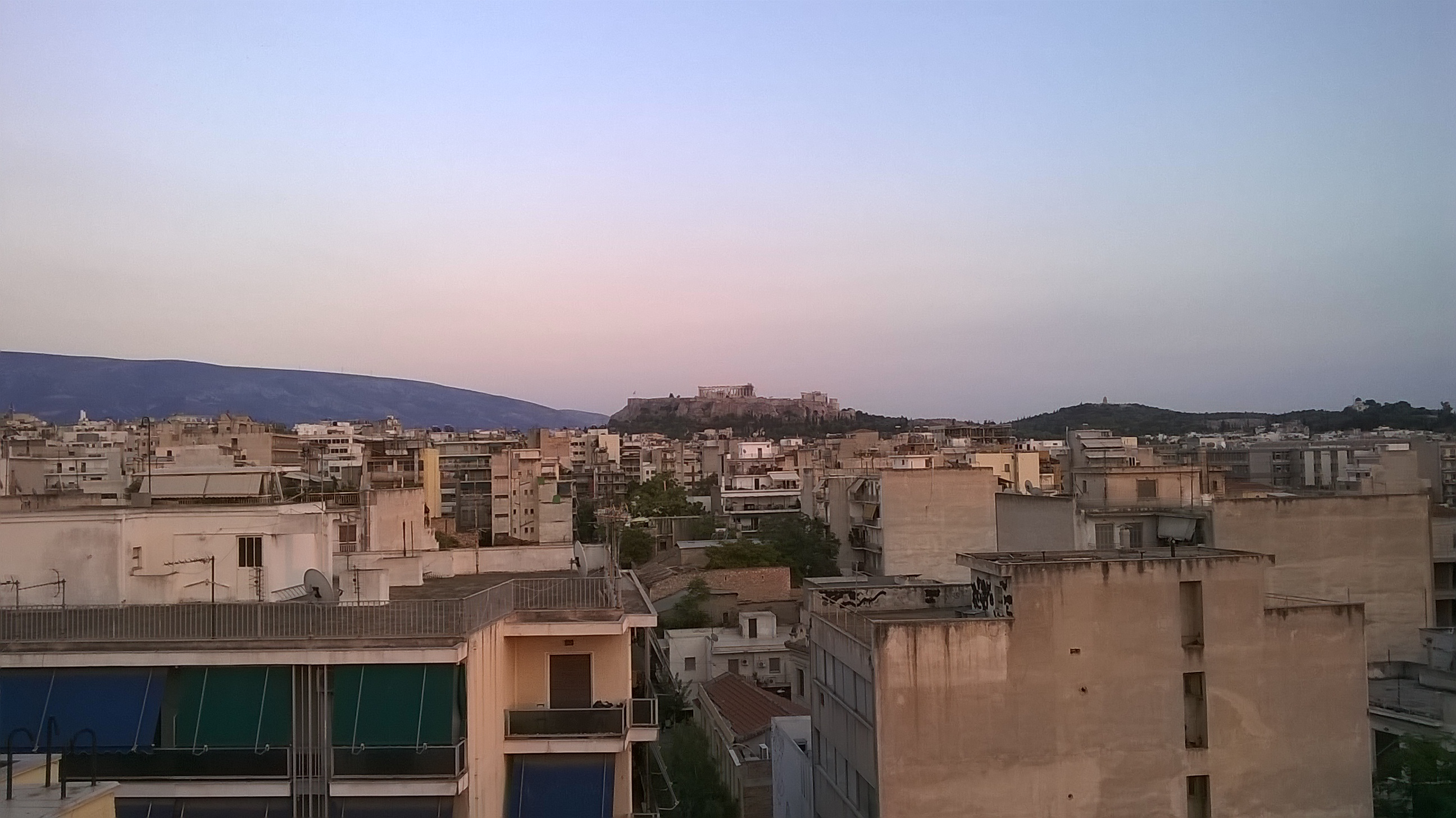 View of the Acropolis from the roof of our hotel.