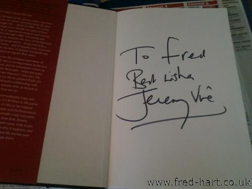 Signed Copy of Jeremy Vine's Book