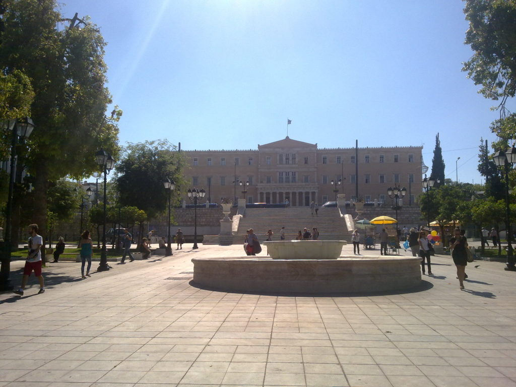 The Greek Parliament overlooking Syntagma Square